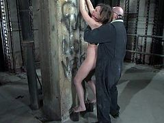 Cute brown-haired girl Gwen Diamond is having fun with Sgt. Major in a cellar. Major binds Gwen and rubs her snatch with a toy until she cums.