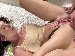 Nasty beauty enjoys hardcore pleasure after enjoying kinky pissing masturbation