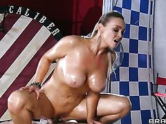 Toni Ribas gets turned on by Abbey Brooks with big hooters and then drills her mouth