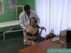 Sensual black haired amateur babe examnied and pussy fucked with fake doctor in a hospital