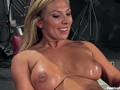 Sexy blonde chick Skylar Price is getting naughty in a basement. She lets some guy stuff her holes with fucking machine's attachments and enjoys a raunchy moment.