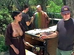 Huge titted porn diva shows off her juggs and gets her snatch fucked right in the sun by well built muscular guy n Conan The Barbarian porn version behind the scenes. Watch them do it for cam.