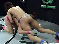 Stunning Isis Love and Tory Lane fight showing their great skills. Then the losing girl gets punished by the winning one.