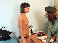 Check out this skinny russian teenie involved into a nasty examination from the horny gynecologist and his military assistant. This young cutie is so fucking innocent.