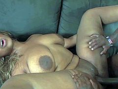 Allmond is a chubby black slut with huge ass, big natural titties and shaved meaty pussy. She shows her curves as she gets her love hole drilled by rock hard thick chocolate cock.
