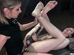 Lovely girl gets her body covered with hot wax by Maitresse Madeline. After that she gets her ass whipped and toyed with a strap-on.
