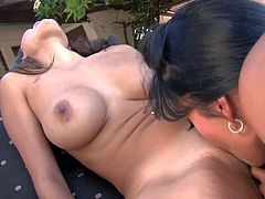 Attractive smoking hot Daisy Marie with pierced belly button and long whorish nails gets naked with her busty girl and makes her eat shaved pussy like Lesie in outdoor fantasy.