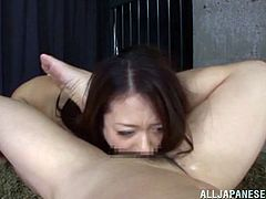 Poor Japanese chick has to satisfy guys in the prison. Two dudes come to her prison cell and fuck her deep in the mouth. They also cum on her face and in mouth.