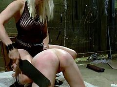In this prison the blondes make the rules. Aiden and Lee are two horny and devilish mistresses that want to sexyally exploit Nerine. They grope her boobs, spank and finger her ass and the rest is to be seen. Enjoy a nice session of whipped ass.