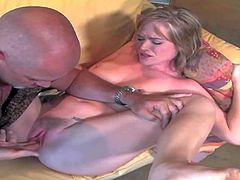 Naomi Cruise spreads her legs and offers her nice young pink pussy to curious older man. He gives her snatch a lick and inserts vibrator in her love box. Naomi Cruise loves the fun.