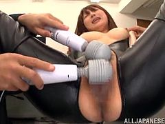 Amazingly hot Japanese girl gets her tits and pussy toyed with vibrators. After that she blows a dick and gets fucked in her tight Asian pussy in the prison.