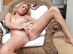 With small boobs and hairless bush proves that her body is just perfect as she masturbates naked