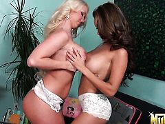 Blonde chicana porn girl Daisy Marie with gigantic tits is in the mood for pussy licking and does it with lesbian Molly Cavalli