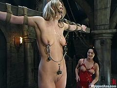 Time for some nice lesbian BDSM! Gorgeous Harmony takes the advantage of torturing Sandra Romain. She had her crossed and then babe takes her down to make her eat her pussy!