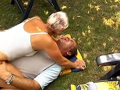 Mature blonde with nice booty and her husband are huge fans of hardcore outdoor sex, so they do it every single day in their big backyard
