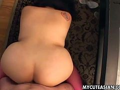 This hot amateur babe starts off by dildoing her tight Asian cunt. She is then joined by her man and gives his stiff cock a workout with her mouth.