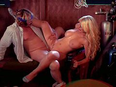 Tall famous stud Evan Stone with long stiff sausage and stunning blonde bombshell Alexis Ford with jaw dropping melons fuck like crazy in the kitchen in awesome role play.