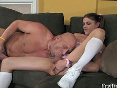 Watch this shemale cheerleader with her nice titties getting banged in her tight butthole by her friend in Fame Digital sex clips.