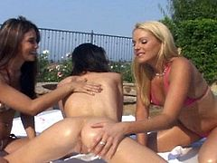 Three flawless babes playing somewhere outside