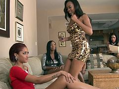 Press play and watch these ebony beauties giving you one hell of a boner as they have a lesbian orgy.