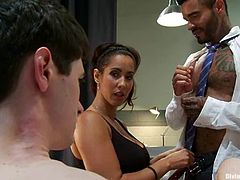 This slender and kinky siren Isis Love is going to make these dudes obey her! She says to fuck her and they do. She says bend over and they do that too!