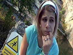 Innocent pretty blonde teen gets pumped and plugged outside as she blows huge dick before rigid guy destroyed her snatch and shot his load in her tiny mouth.