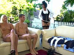 Young cute blonde Shay Golden with small titties and long legs and her slim boyfriend Chris Johnson get dominated by black haired milf Roxane Hall in kinky outdoor fantasy.