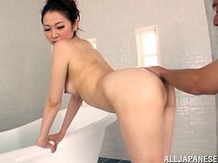 Sex goddess of Japan Asami Ogawa is being so hot! She bends over and he soaps her ass and enjoys how slippery it gets. Babe is just crazy!