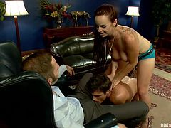 Divine whore Bella takes great pleasure, in seeing a man sucking cock. To make things even more interesting, she fucks this guy in the ass with a strap on dildo, while he gives head. First, she putted him to suck her dildo and now, she drills his tight anus from behind. This dude get's stuffed from both ends!