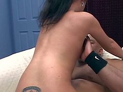 Petite young brunette hooker with natural boobs and sweet firm bums sucks filthy dudes Jason Brown and Sledge Hammer before they drill deep her tight holes at the same time.