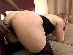Lustful mature blonde Magda allows some black dude to finger her snatch. Then they fuck in side-by-side position and Magda licks the weiner clean afterwards.