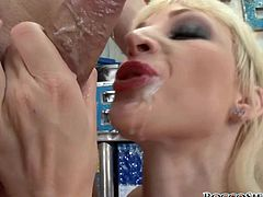 Prepare yourself for ruthless anal pounding! Brazen blonde bitch sucks fat dicks balls deep in a sloppy way and gets her holes double penetrated.
