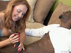 She starts to blows his big black cock very diligently and with incredible desire. He moans loud and he loves it. Have a look at this blowjob video in Private xxx video!