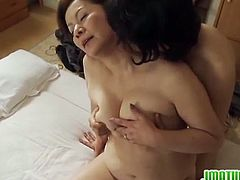 Japanese Matures brings you an amazing free porn video where you can see the chubby Japanese brunette Mature Chizuru Iwasaki as she gets fucked by a young stud.