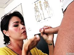 Asian Dana Vespoli gets her mouth stretched by beefy rock hard snake of Keiran Lee before anal fun