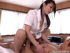 Lustful Japanese nurse Hana Nonoka seduces her patient and has fun with him. She favours the dude with a blowjob and then allows him to fuck her snatch from behind and in cowgirl position.