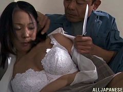 Robber takes hostage a beautiful japanese babe with natural tits and sexy bra then starts to lick her pussy and fuck her missionary