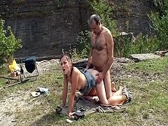 Old fisherman get sudden visit from young horny chick who let him screw and pump her taut slit by the river. After changing couple of poses he is ready to explode.