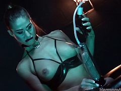 Mean mistress in leather outfit give some head to her bounded slave and pumps his dick with penis pump. Voracious bitch harshly strokes that stiff dick later.