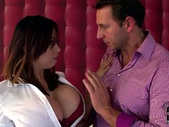 Luscious brunette MILF has got juicy jugs. She exposes her tits in closeup shot. Tiger takes hard dick in her mouth sucking the stick deepthroat.