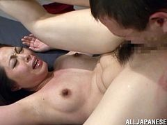 Sexy Asian MILF lifts the skirt up and shakes her booty. Then she gets her juicy tits licked and pussy fucked hard. Eventually, she gets her face cum covered massively.