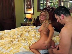 Glamorous tanned beauty Cameron Dee with big natural hooters and round delicious ass seduces wild Anthony Rosano and gets wet honey pot pounded all over bedroom in awesome position.