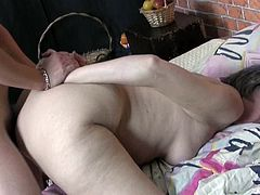 This granny loves her lover's cock. To show how much she appreciates it she sucks it greedily like there's no tomorrow. Then he fucks her muff in doggy position.