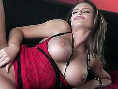 Extremely sexy goddess Jenna Presley stroking her love hole