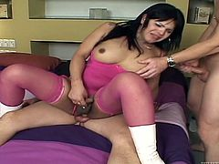 Some horny transsexual babes have fun with guys. They get their big dicks sucked by men. One of them gets ass fucked in a cowgirl pose.
