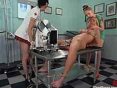 These two nurses are going to have fun with a patient by using different submission techniques and some kinky sex toys.
