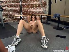 Hot Karina Ballerina gets punished by Janay after training session in the gym. Karina gets whipped and then toyed rough with the strap-on.