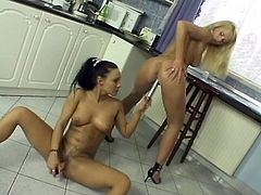Victoria Slim and Valentina Velasquez take their dresses of in a kitchen. They cover their tits and pussies with whipped cream. Then they lick it off and also toy pussies with big silver dildo.