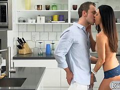 Sexy cougar India Summer make love passionately with her man