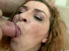 Curly-haired old slut Ania favours some young stud with a blowjob. Then they fuck in side-by-side position and Ania moans loudly with pleasure.